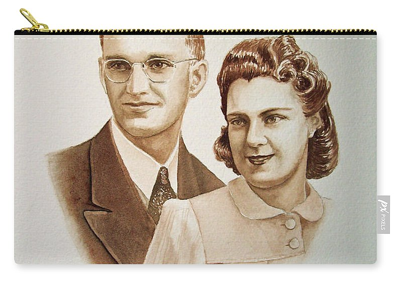 Anniversary Carry-all Pouch featuring the painting 70 Years Together by Irina Sztukowski