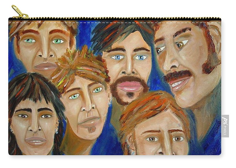 Portrait Carry-all Pouch featuring the painting 70s Band Reunion by Laurie Morgan