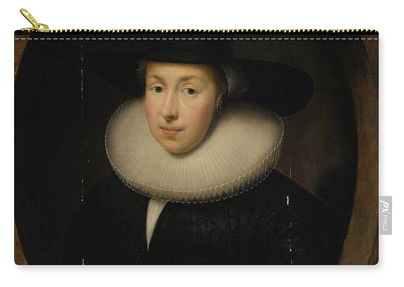 Cornelis Jonson Van Ceulen Portrait Of A Lady Carry-all Pouch featuring the painting Portrait Of A Lady by MotionAge Designs