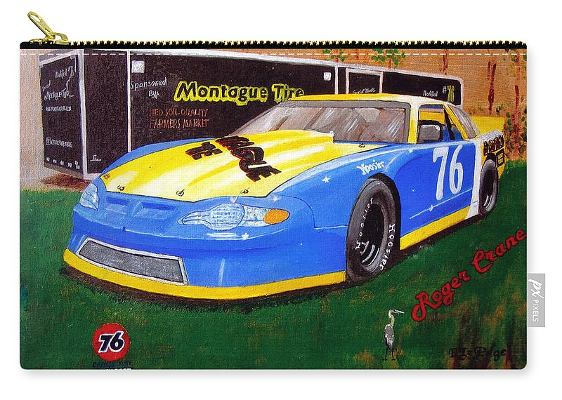 Nascar Carry-all Pouch featuring the painting 76 Roger Crane by Richard Le Page