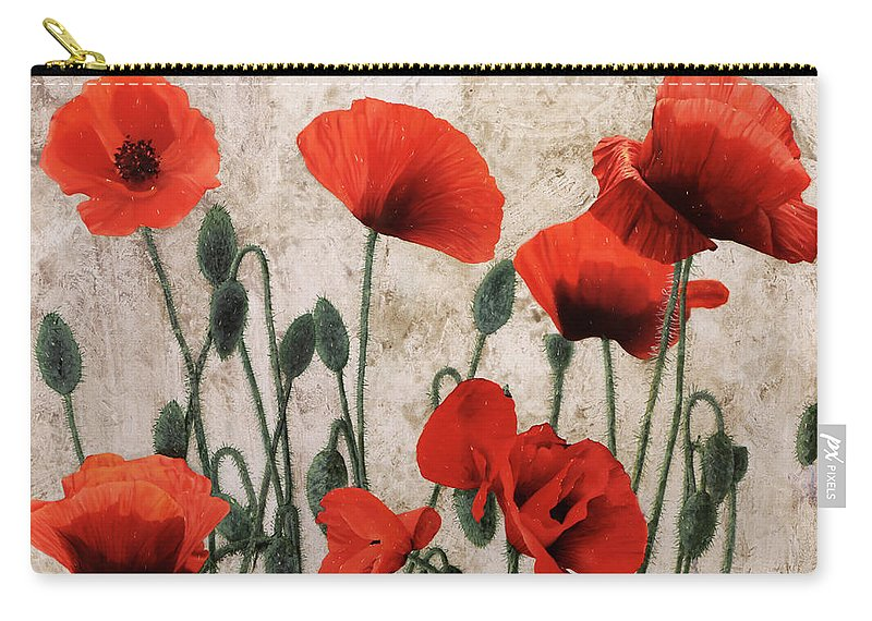 Poppies Carry-all Pouch featuring the painting 7papaveri7 by Guido Borelli