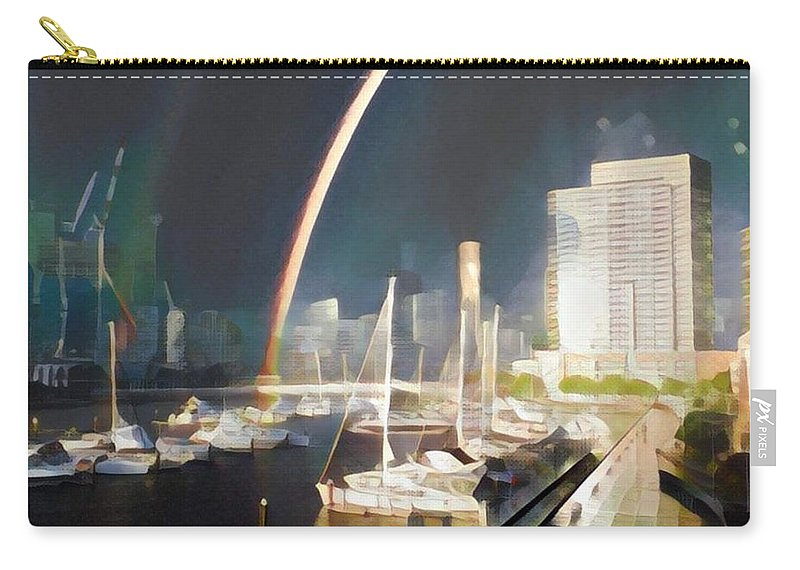 Carry-all Pouch featuring the digital art Docklands Double Rainbow by Melinda Sullivan Image and Design