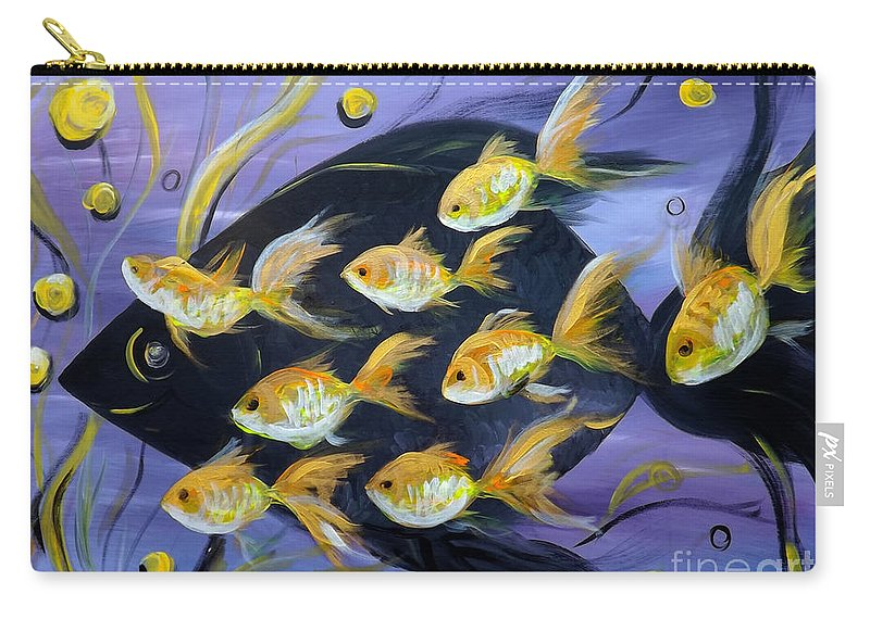 Fish Carry-all Pouch featuring the painting 8 Gold Fish by Gina De Gorna