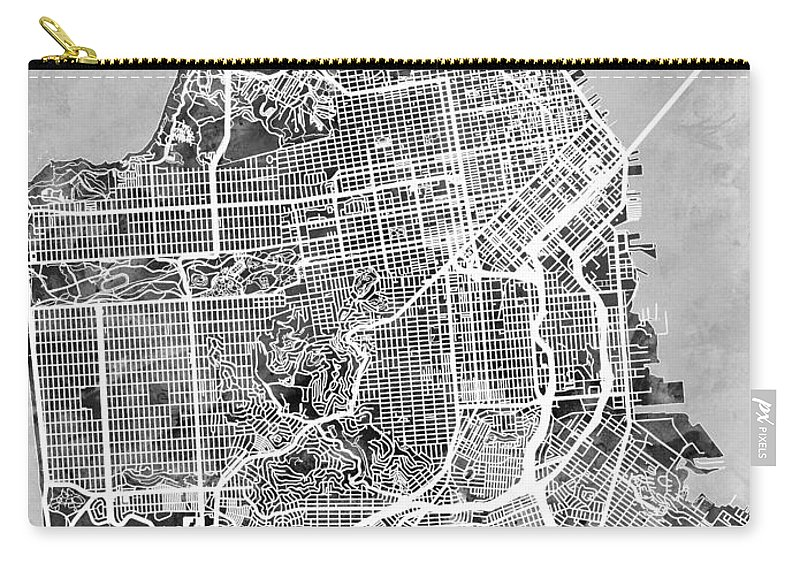 San Francisco City Street Map Carry-all Pouch on northern europe map, ca map, western europe map, mu map, osi map, mco map, central europe map,