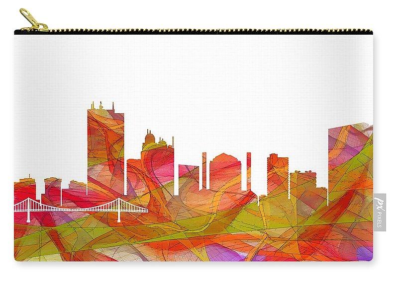 Toledo Ohio Skyline Carry-all Pouch featuring the digital art Toledo Ohio Skyline by Marlene Watson