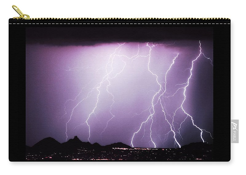 Lightning Carry-all Pouch featuring the photograph 85255 Fine Art Arizona Lightning Photo Poster by James BO Insogna