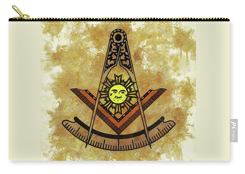 Freemason Carry-all Pouch featuring the painting Freemason, Masonic, Symbols by Esoterica Art Agency