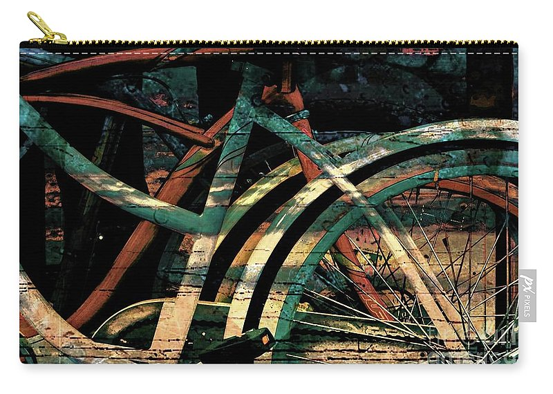 Bikes. Abstract. Bicycles Color. Stylized Art. Wall Art Carry-all Pouch featuring the photograph 9 Million Bicycles by Minnetta Heidbrink