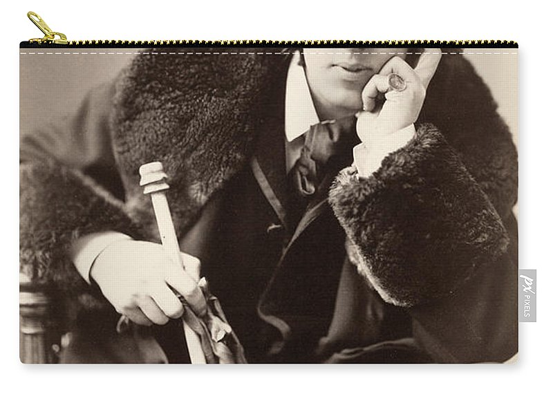 1882 Carry-all Pouch featuring the photograph Oscar Wilde (1854-1900) by Granger