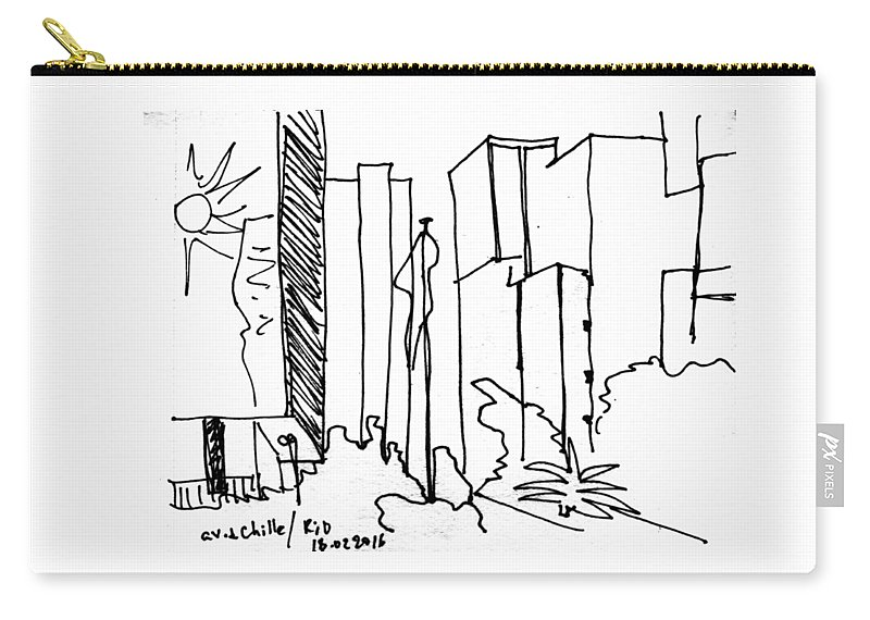 Rio De Janeiro Carry-all Pouch featuring the drawing Rio De Janeiro, Centro. 18 Febriary, 2016 by Tasha Chernyavskaya