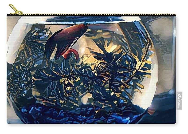 Carry-all Pouch featuring the digital art Siamese Fighting Fish by Melinda Sullivan Image and Design