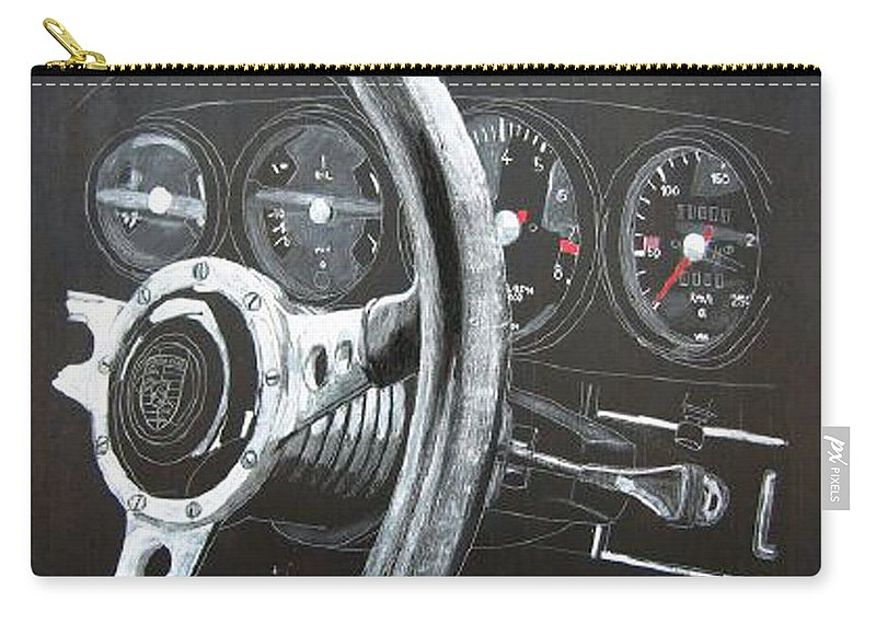 Car Carry-all Pouch featuring the painting 911 Porsche Dash by Richard Le Page