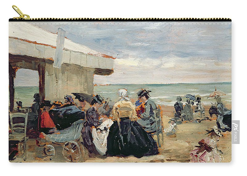 Beach Carry-all Pouch featuring the painting A Beach Scene by Eugene Louis Boudin
