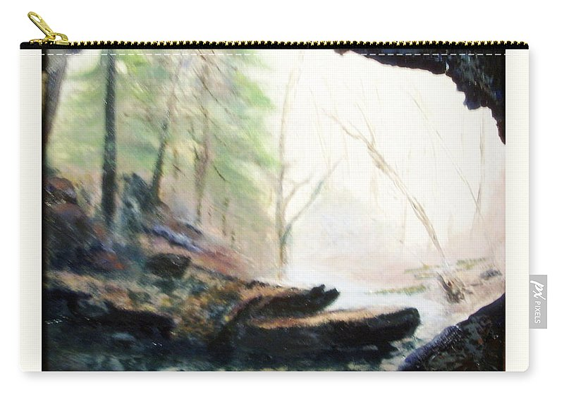 Cave Carry-all Pouch featuring the painting A Bears View by Gail Kirtz
