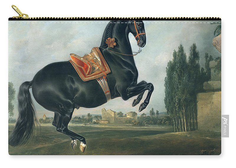 Black Carry-all Pouch featuring the painting A Black Horse Performing The Courbette by Johann Georg Hamilton