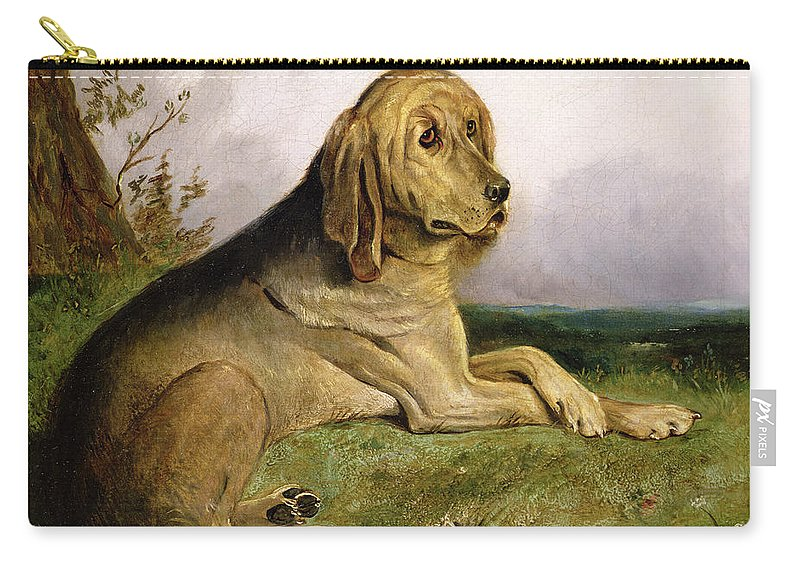 Bloodhound Carry-all Pouch featuring the painting A Bloodhound In A Landscape by English school