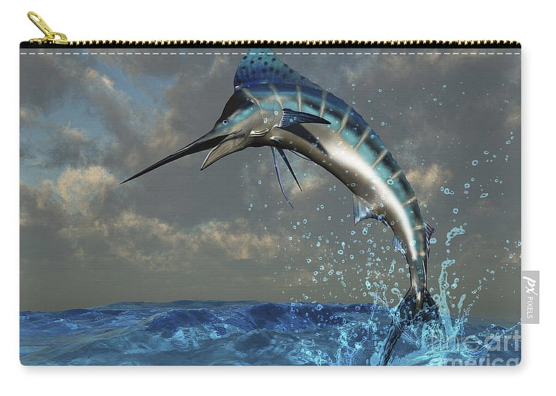 Marlin Carry-all Pouch featuring the digital art A Blue Marlin Flashes Its Iridescent by Corey Ford