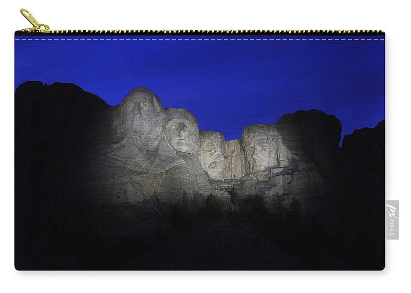 Mount Rushmore Carry-all Pouch featuring the photograph A Blue Rushmore by Christopher Miles Carter