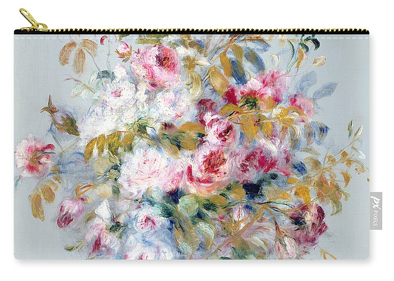 A Bouquet Of Roses Carry-all Pouch featuring the painting A Bouquet Of Roses by Pierre Auguste Renoir