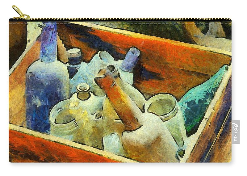 A Box Of Antique Bottles Carry-all Pouch featuring the photograph A Box Of Antique Bottles by Barbara Snyder