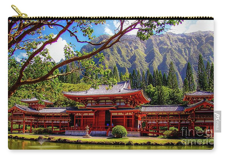 Buddhist Carry-all Pouch featuring the photograph Buddhist Temple - Oahu, Hawaii - by D Davila