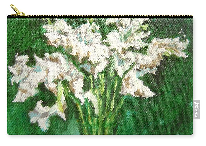 Bunch Carry-all Pouch featuring the painting A bunch of White Gladioli by Usha Shantharam