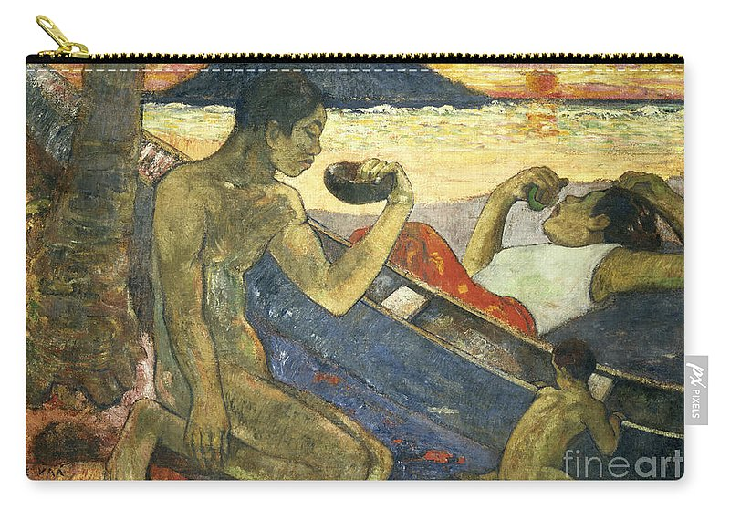 A Canoe (tahitian Family) Carry-all Pouch featuring the painting A Canoe by Paul Gauguin