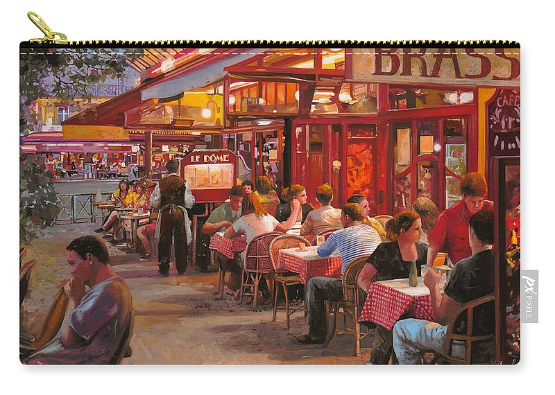 Street Scene Carry-all Pouch featuring the painting A Cena In Estate by Guido Borelli