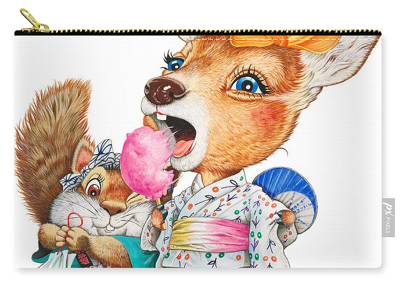 Candy Carry-all Pouch featuring the drawing A Child Deer And Squirrel At The Summer Festival by Shiro Yamaguchi