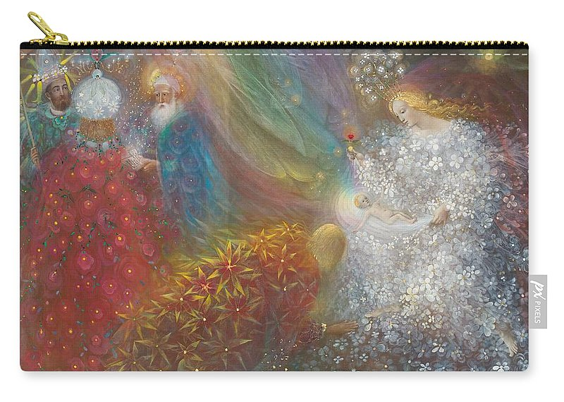 Nativity Carry-all Pouch featuring the painting A Child Is Born by Annael Anelia Pavlova