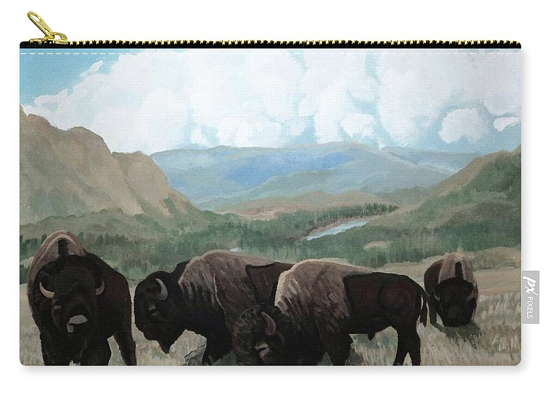 Bison Clouds With A Child Carry-all Pouch featuring the painting A Child Leads The Herd by Anthony Bear