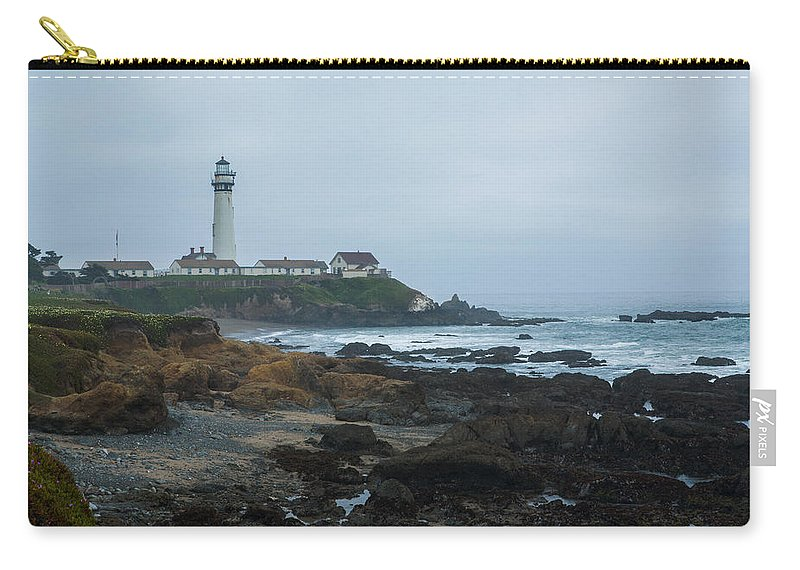 Pidgeon Point Lighthouse Carry-all Pouch featuring the photograph A Cloudy Day At Pigeon Point by Bryant Coffey