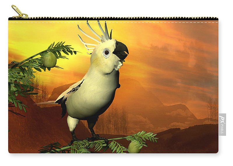 Cockatoo Carry-all Pouch featuring the digital art A Cockatoo In A Tree by John Junek