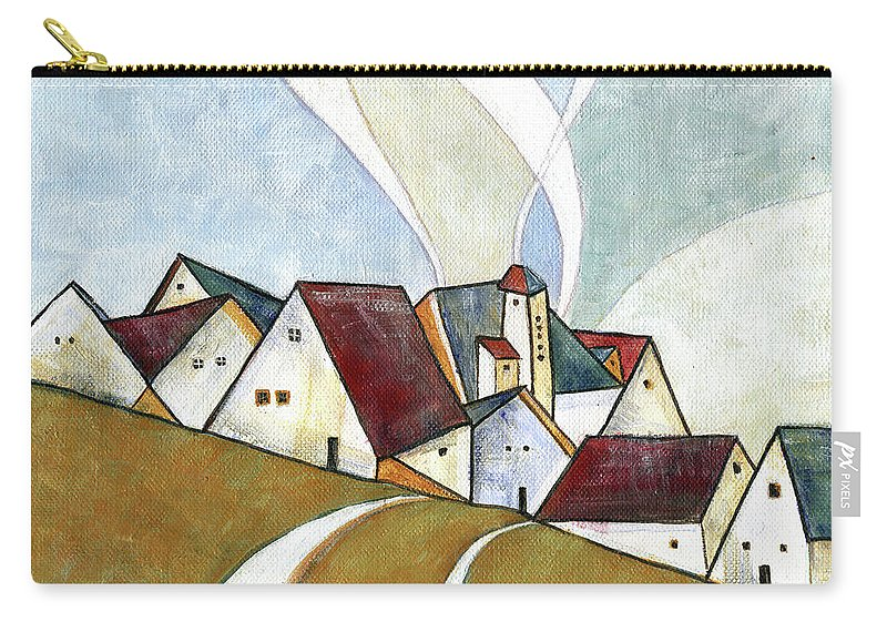Original Art Carry-all Pouch featuring the painting  A Cold Day by Aniko Hencz