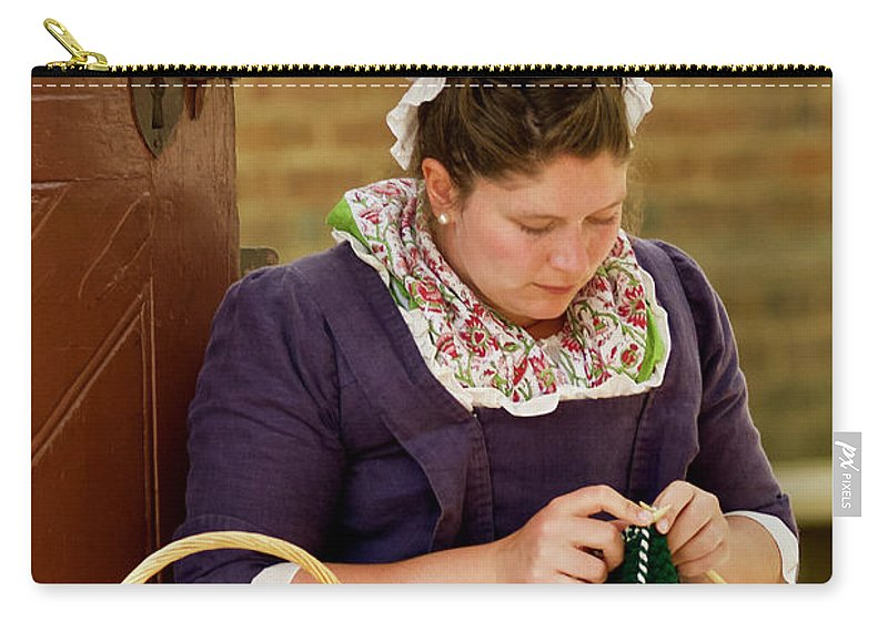 Colonial Williamsburg Carry-all Pouch featuring the photograph A Colonial Lady Knits by Rachel Morrison
