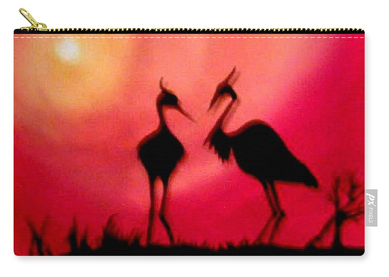 Swans Carry-all Pouch featuring the painting A Conversation by Glory Fraulein Wolfe