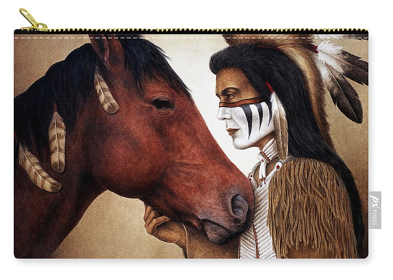 Horse Carry-all Pouch featuring the painting A Conversation by Pat Erickson