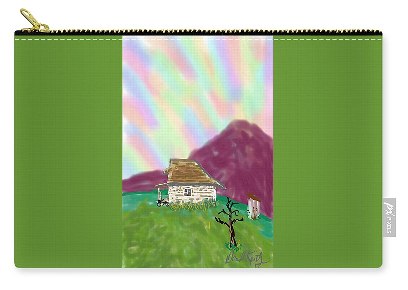 Sky Mountains Old Cottage Desolate Carry-all Pouch featuring the digital art A Cottage In The Alps by David R Keith