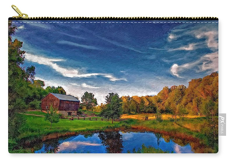 Pond Carry-all Pouch featuring the photograph A Country Place Painted Version by Steve Harrington