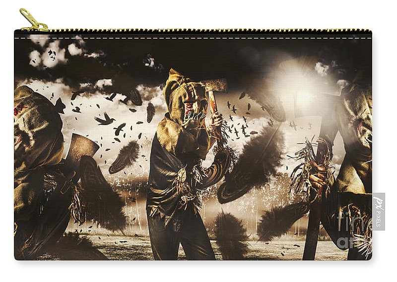 Crows Carry-all Pouch featuring the photograph A Crow Left Of The Murder by Jorgo Photography - Wall Art Gallery