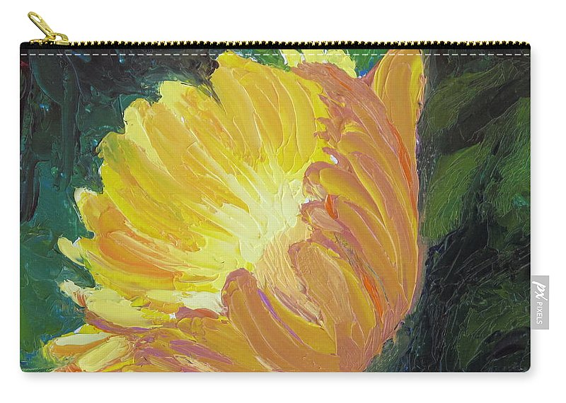 Flower Carry-all Pouch featuring the painting A Cup of Sunlight by Lea Novak