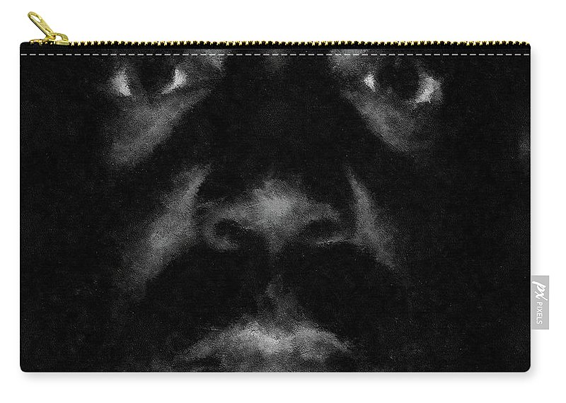 Portraits Carry-all Pouch featuring the drawing A Dark Proud Man by Dragica Micki Fortuna