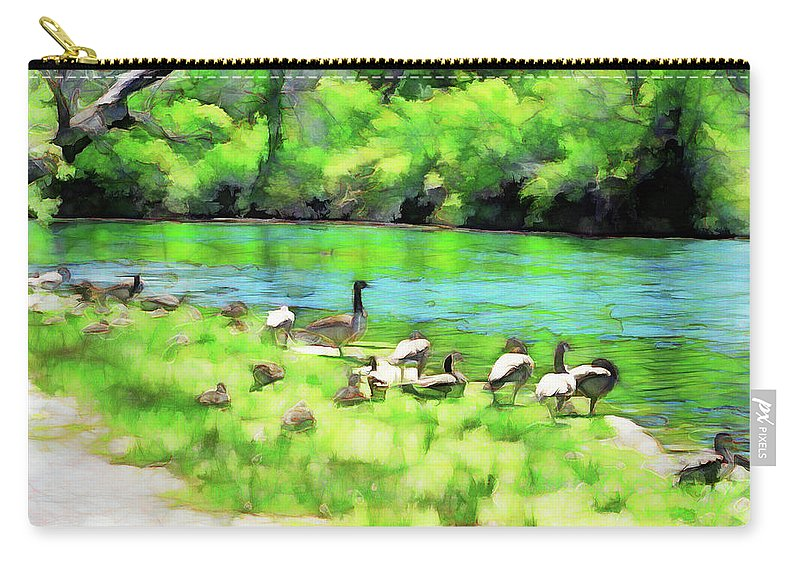 Dufferin Islands Carry-all Pouch featuring the digital art A Day At The Beach by Leslie Montgomery