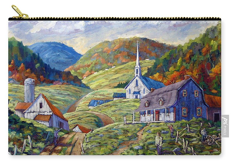 Landscape Carry-all Pouch featuring the painting A Day In Our Valley by Richard T Pranke