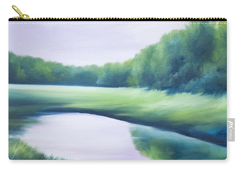 Nature; Lake; Sunset; Sunrise; Serene; Forest; Trees; Water; Ripples; Clearing; Lagoon; James Christopher Hill; Jameshillgallery.com; Foliage; Sky; Realism; Oils; Green; Tree; Blue; Pink; Pond; Lake Carry-all Pouch featuring the painting A Day In The Life 1 by James Christopher Hill