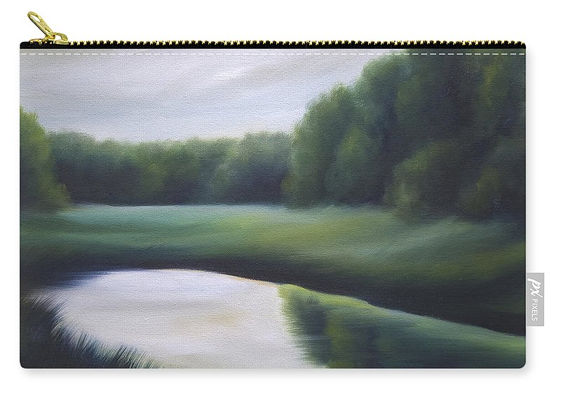 Nature; Lake; Sunset; Sunrise; Serene; Forest; Trees; Water; Ripples; Clearing; Lagoon; James Christopher Hill; Jameshillgallery.com; Foliage; Sky; Realism; Oils; Green; Tree Carry-all Pouch featuring the painting A Day In The Life 3 by James Christopher Hill
