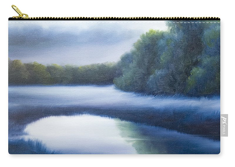 Nature; Lake; Sunset; Sunrise; Serene; Forest; Trees; Water; Ripples; Clearing; Lagoon; James Christopher Hill; Jameshillgallery.com; Foliage; Sky; Realism; Oils; Green; Tree; Blue; Pink; Pond; Lake Carry-all Pouch featuring the painting A Day In The Life 4 by James Christopher Hill