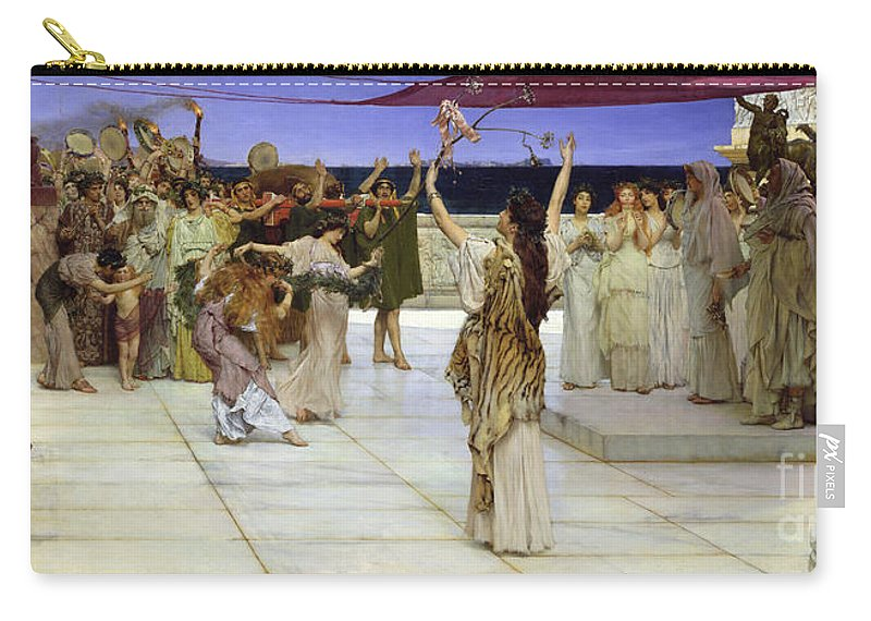 Dedication Carry-all Pouch featuring the painting A Dedication To Bacchus by Sir Lawrence Alma Tadema