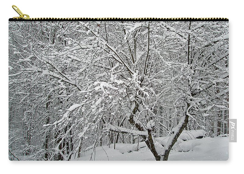 Snow Carry-all Pouch featuring the photograph A Dogwood Sleeps While The Snow Falls by Mother Nature