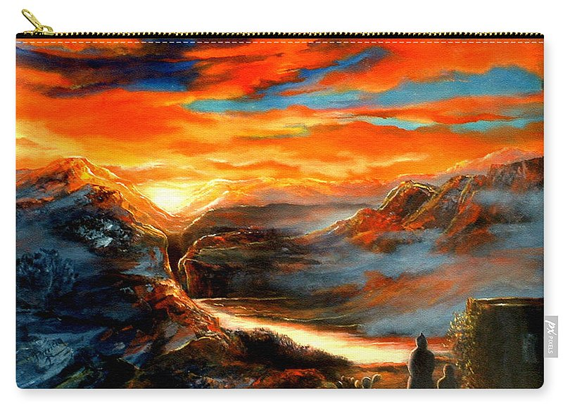 Landscape Carry-all Pouch featuring the painting A Evening In Ramadan by Patricia Rachidi